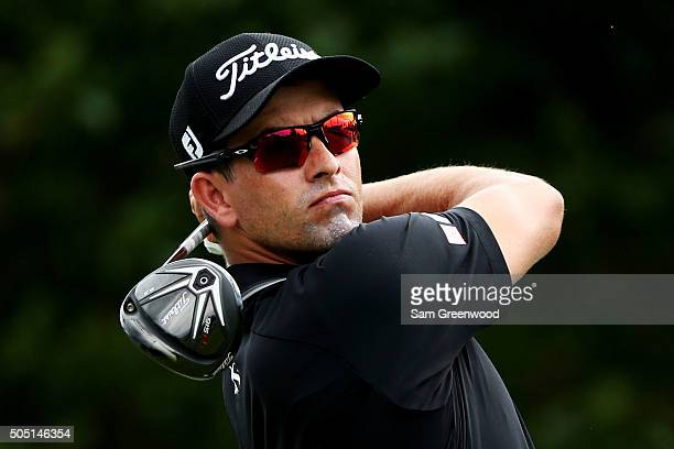 Adam Scott of Australia plays his shot from the first tee during the second round of the Sony Open In Hawaii at Waialae Country Club on January 15...