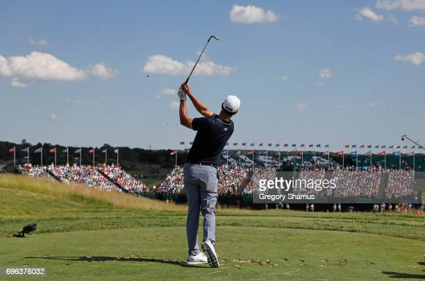 Adam Scott of Australia plays his shot from the ninth tee during the first round of the 2017 US Open at Erin Hills on June 15 2017 in Hartford...