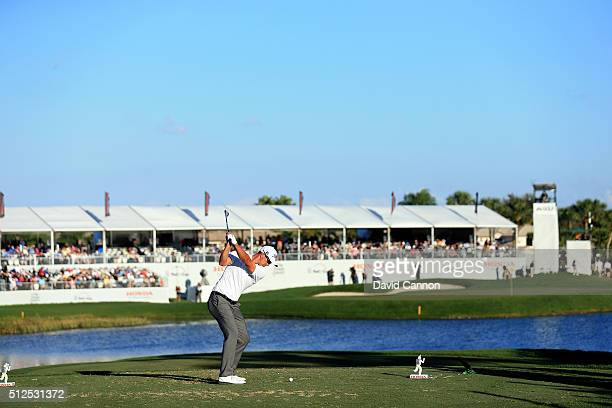 Adam Scott of Australia plays his tee shot at the par 3 17th hole during the second round of the 2016 Honda Classic held on the PGA National Course...