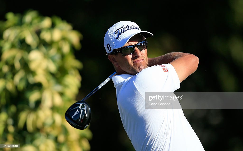 Adam Scott of Australia plays his tee shot at the par 4 14th hole during the second round of the 2016 Honda Classic held on the PGA National Course...