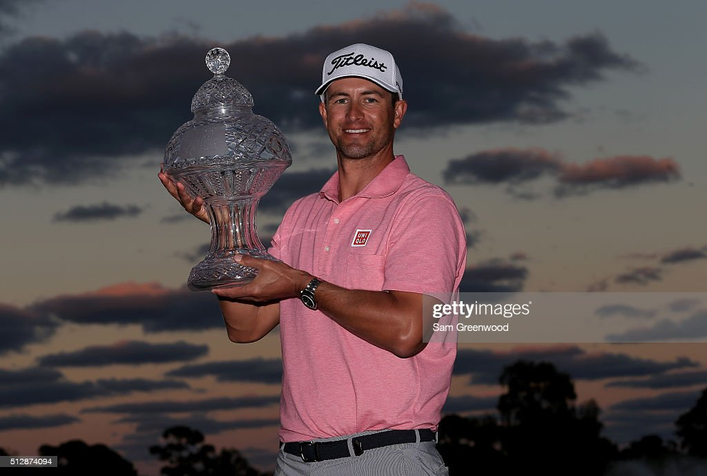 Adam Scott of Australia poses with the trophy after his one shot victory over Sergio Garcia following the final round of The Honda Classic at PGA National Resort and Spa- Champion Course on February 28, 2016 in Palm Beach Gardens, Florida.