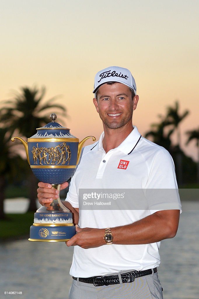 <a gi-track='captionPersonalityLinkClicked' href=/galleries/search?phrase=Adam+Scott+-+Golfer&family=editorial&specificpeople=202039 ng-click='$event.stopPropagation()'>Adam Scott</a> of Australia poses with the trophy on the 18th hole during the final round of the World Golf Championships-Cadillac Championship at Trump National Doral Blue Monster Course on March 6, 2016 in Doral, Florida.
