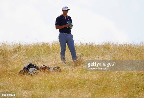 Adam Scott of Australia prepares to make his shot on the eighth hole during the first round of the 2017 US Open at Erin Hills on June 15 2017 in...