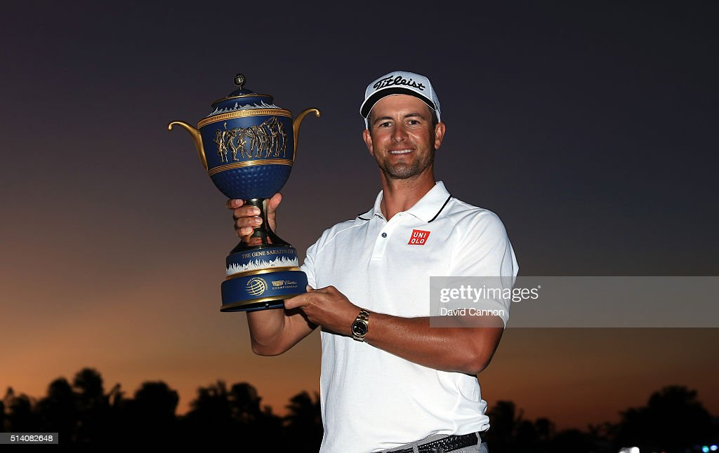 <a gi-track='captionPersonalityLinkClicked' href=/galleries/search?phrase=Adam+Scott&family=editorial&specificpeople=202039 ng-click='$event.stopPropagation()'>Adam Scott</a> of Australia proudly holds the trophy after his one shot win in the final round of the 2016 World Golf Championship Cadillac Championship on the Blue Monster Course at the Trump National Doral Resort on March 6, 2016 in Doral, Florida.