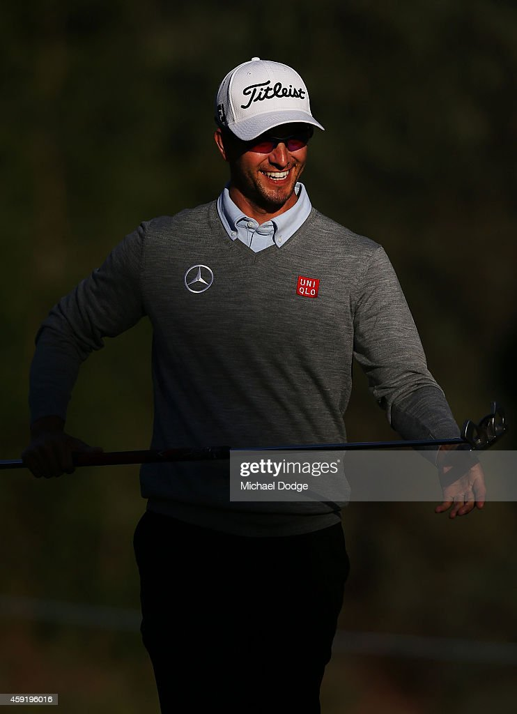 <a gi-track='captionPersonalityLinkClicked' href=/galleries/search?phrase=Adam+Scott&family=editorial&specificpeople=202039 ng-click='$event.stopPropagation()'>Adam Scott</a> of Australia reacts after a putt during the Pro-Am ahead of the 2014 Australian Masters at The Metropolitan Golf Course on November 19, 2014 in Melbourne, Australia.
