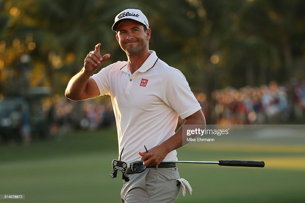 <a gi-track='captionPersonalityLinkClicked' href=/galleries/search?phrase=Adam+Scott&family=editorial&specificpeople=202039 ng-click='$event.stopPropagation()'>Adam Scott</a> of Australia reacts after putting in to win on the 18th hole during the final round of the World Golf Championships-Cadillac Championship at Trump National Doral Blue Monster Course on March 6, 2016 in Doral, Florida.