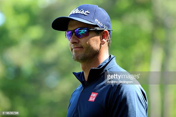 Adam Scott of Australia reacts on the 13th green during the first round of the 2016 Masters Tournament at Augusta National Golf Club on April 7 2016...