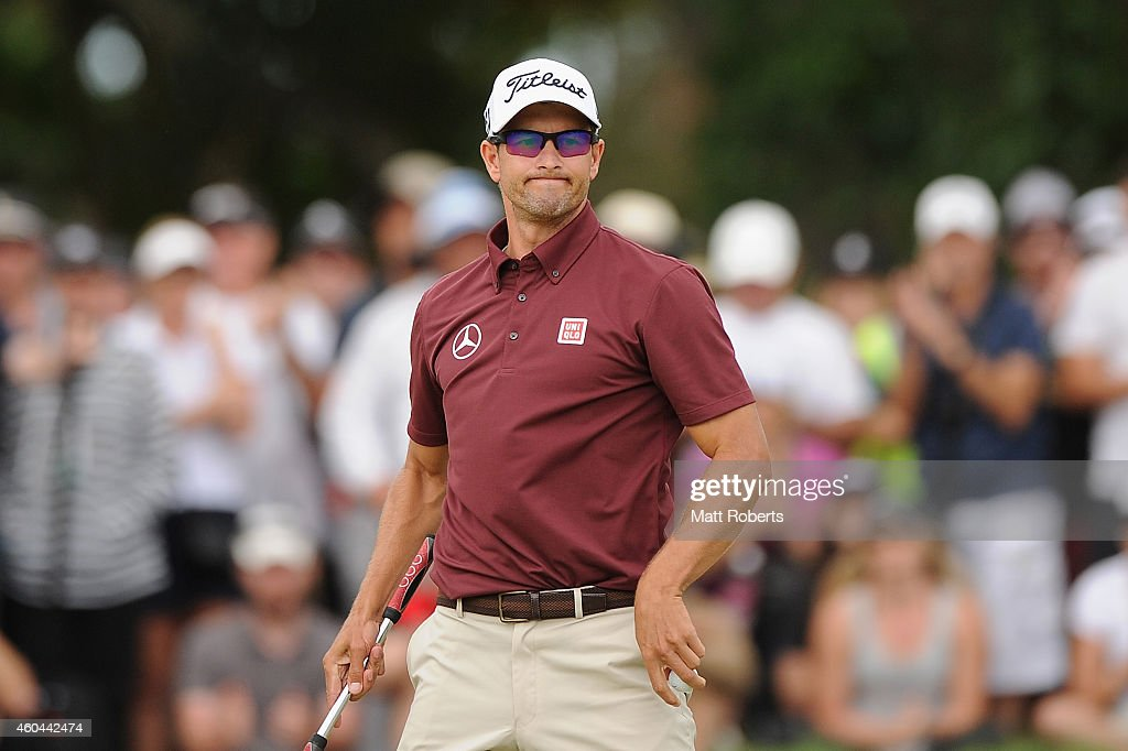<a gi-track='captionPersonalityLinkClicked' href=/galleries/search?phrase=Adam+Scott&family=editorial&specificpeople=202039 ng-click='$event.stopPropagation()'>Adam Scott</a> of Australia reacts on the 18th green during day four of the 2014 Australian PGA Championship at Royal Pines Resort on December 14, 2014 on the Gold Coast, Australia.