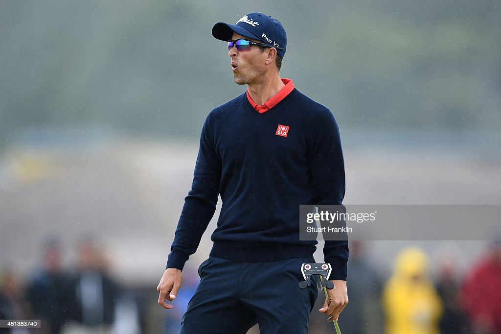 <a gi-track='captionPersonalityLinkClicked' href=/galleries/search?phrase=Adam+Scott&family=editorial&specificpeople=202039 ng-click='$event.stopPropagation()'>Adam Scott</a> of Australia reacts on the 3rd green during the final round of the 144th Open Championship at The Old Course on July 20, 2015 in St Andrews, Scotland.