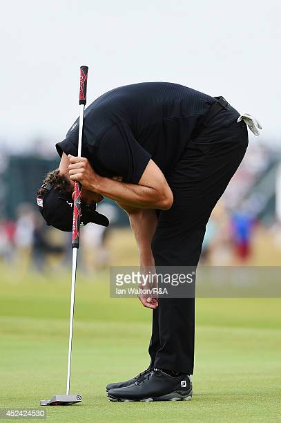 Adam Scott of Australia reacts on the fourth green during the final round of The 143rd Open Championship at Royal Liverpool on July 20 2014 in...
