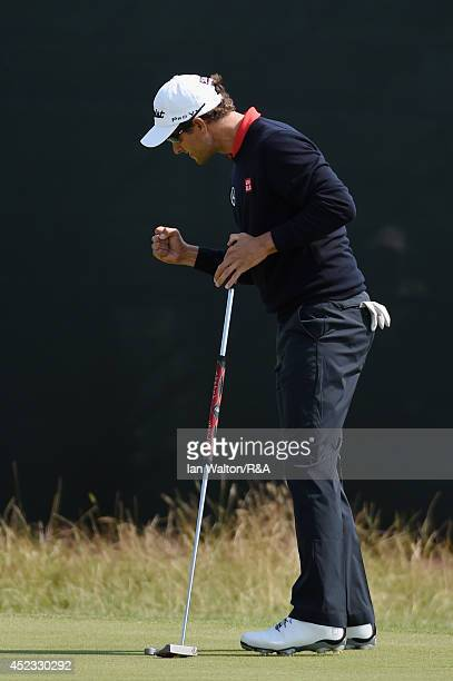 Adam Scott of Australia reacts on the seventh green during the second round of The 143rd Open Championship at Royal Liverpool on July 18 2014 in...