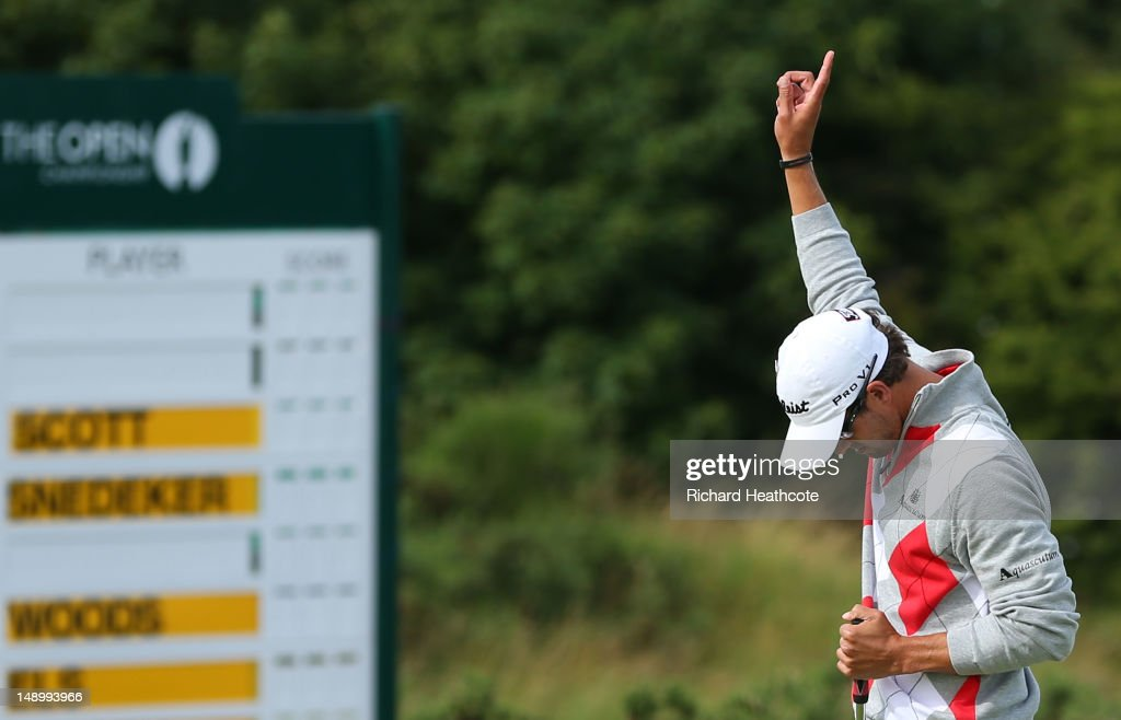 Adam Scott of Australia reacts to a birdie putt on the eighth green during the third round of the 141st Open Championship at Royal Lytham & St. Annes Golf Club on July 21, 2012 in Lytham St Annes, England.