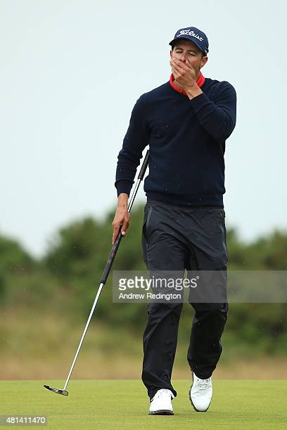 Adam Scott of Australia reacts to a bogey on the 14th green during the final round of the 144th Open Championship at The Old Course on July 20 2015...
