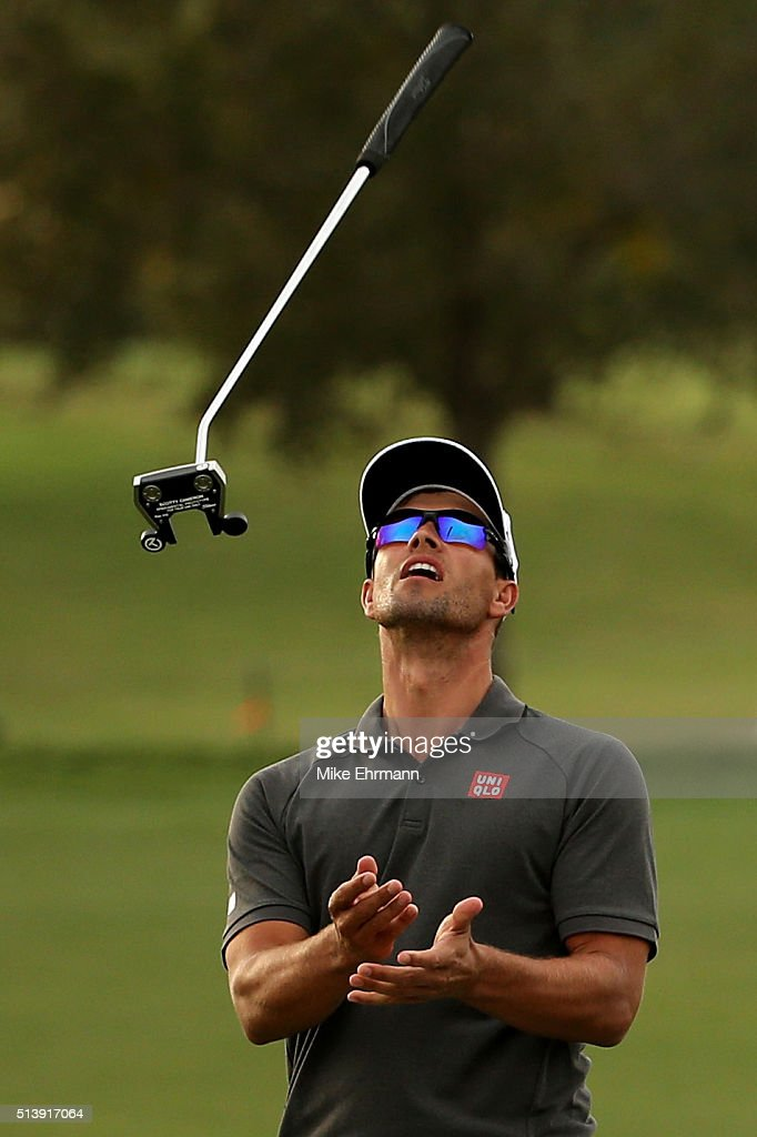 <a gi-track='captionPersonalityLinkClicked' href=/galleries/search?phrase=Adam+Scott&family=editorial&specificpeople=202039 ng-click='$event.stopPropagation()'>Adam Scott</a> of Australia reacts to his missed birdie putt on the 16th hole during the third round of the World Golf Championships-Cadillac Championship at Trump National Doral Blue Monster Course on March 5, 2016 in Doral, Florida.