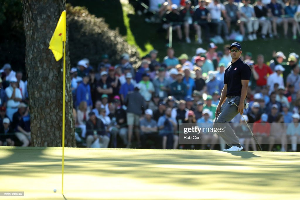 Adam Scott of Australia reacts to his putt on the 15th hole during the third round of the 2017 Masters Tournament at Augusta National Golf Club on April 8, 2017 in Augusta, Georgia.