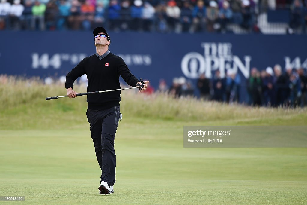 <a gi-track='captionPersonalityLinkClicked' href=/galleries/search?phrase=Adam+Scott&family=editorial&specificpeople=202039 ng-click='$event.stopPropagation()'>Adam Scott</a> of Australia reacts to his putt on the first green during the first round of the 144th Open Championship at The Old Course on July 16, 2015 in St Andrews, Scotland.