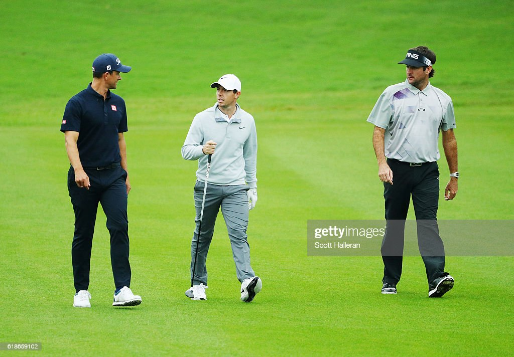 Adam Scott of Australia, Rory McIlroy of Northern Ireland and Bubba Watson of the United States walk on the 15th hole during the first round of the WGC - HSBC Champions at the Sheshan International Golf Club on October 27, 2016 in Shanghai, China.