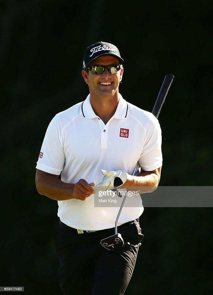 Adam Scott of Australia smiles during the pro-am ahead of the Australian Golf Open at Royal Sydney Golf Club on November 16, 2016 in Sydney, Australia.