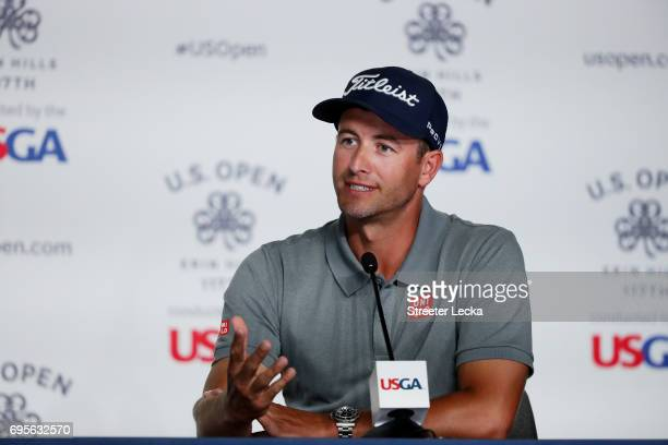 Adam Scott of Australia speaks during a press conference during a practice round prior to the 2017 US Open at Erin Hills on June 13 2017 in Hartford...