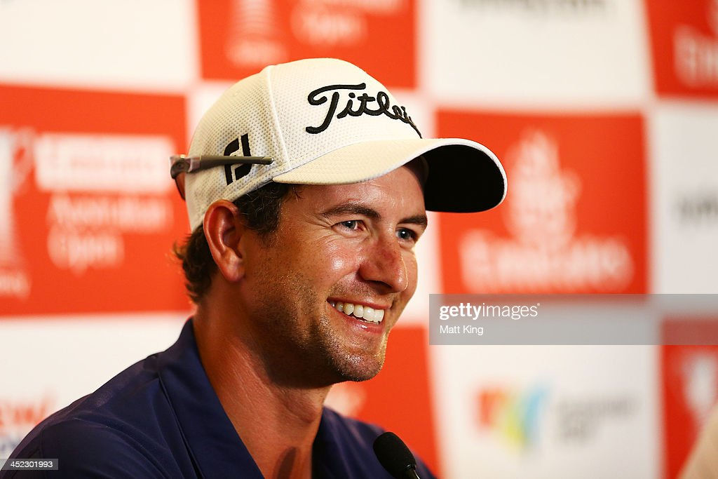 Adam Scott of Australia speaks to the media after completing his round during day one of the 2013 Australian Open at Royal Sydney Golf Club on November 28, 2013 in Sydney, Australia.