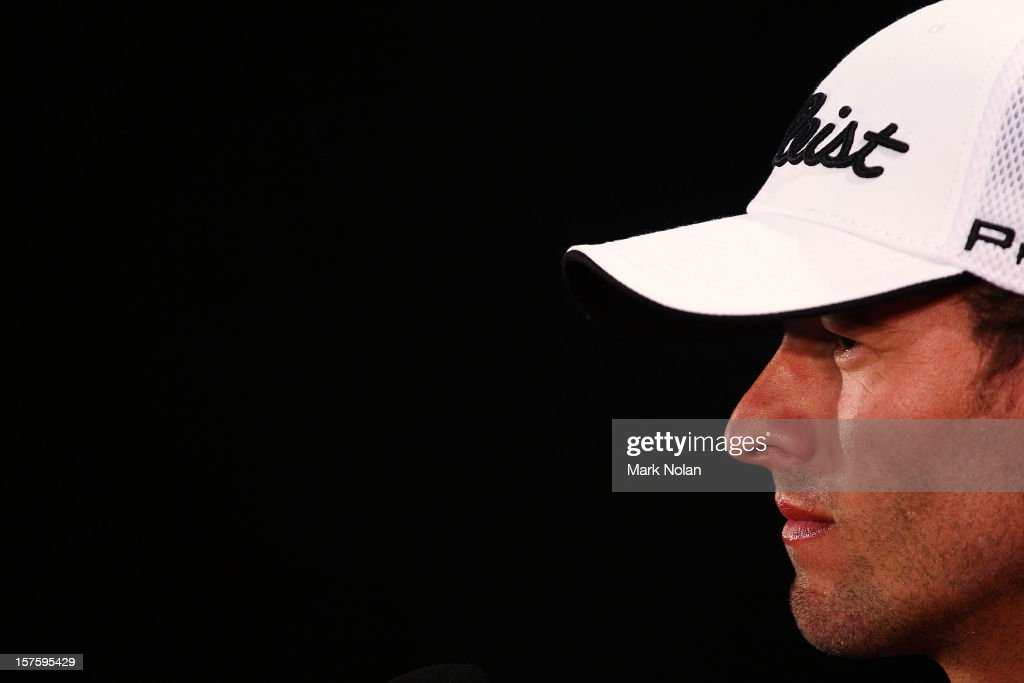 Adam Scott of Australia speaks to the media during a press conference ahead of the 2012 Australian Open, beginning tomorrow, at The Lakes Golf Club on December 5, 2012 in Sydney, Australia.