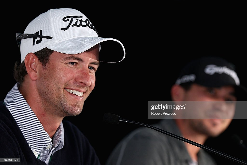 Adam Scott of Australia speaks to the media during a press conference ahead of the World Cup of Golf at Royal Melbourne Golf Course on November 20, 2013 in Melbourne, Australia.