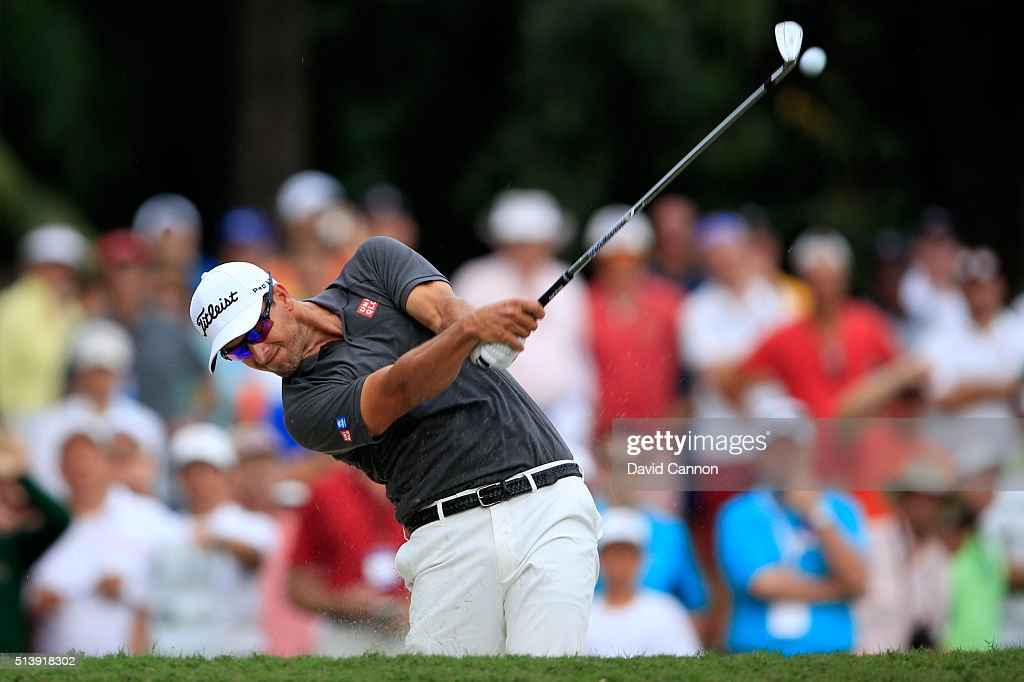 Adam Scott of Australia takes his second shot on the 14th hole during the third round of the World Golf Championships-Cadillac Championship at Trump National Doral Blue Monster Course on March 5, 2016 in Doral, Florida.