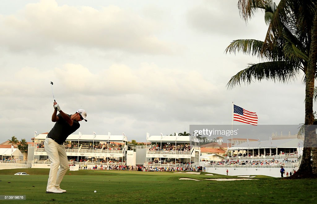 Adam Scott of Australia takes his shot on the 18th hole during the third round of the World Golf Championships-Cadillac Championship at Trump National Doral Blue Monster Course on March 5, 2016 in Doral, Florida.