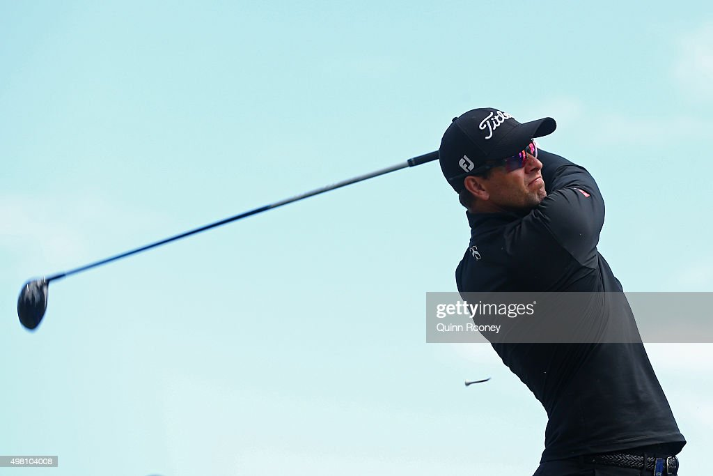 Adam Scott of Australia tees off during day three of the 2015 Australian Masters at Huntingdale Golf Club on November 21, 2015 in Melbourne, Australia.