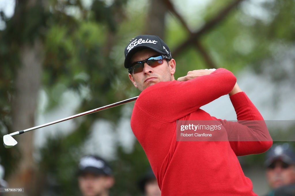 Adam Scott of Australia tees off during round one of the 2013 Australian Masters at Royal Melbourne Golf Course on November 14, 2013 in Melbourne, Australia.