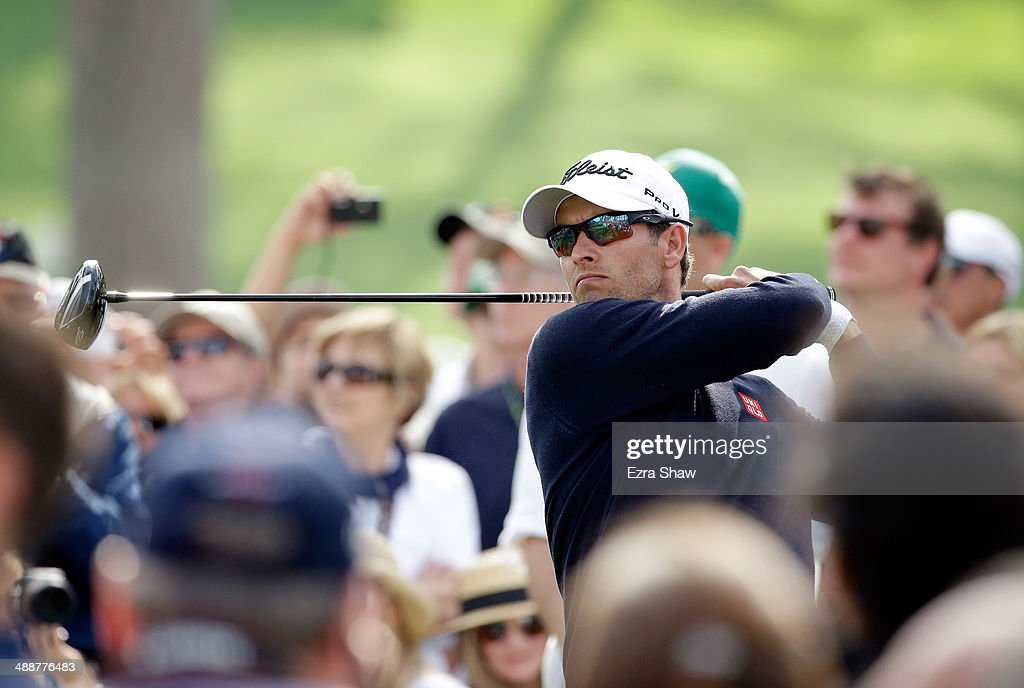 Adam Scott of Australia tees off on the 17th hole during a practice round at Augusta National Golf Club on April 8, 2014 in Augusta, Georgia.
