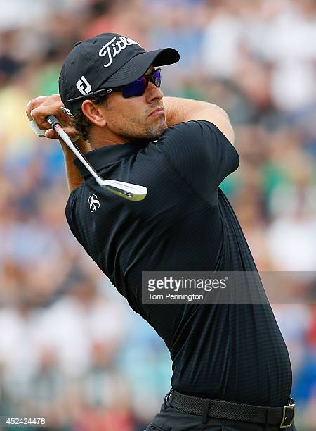 Adam Scott of Australia tees off on the 4th hole during the final round of The 143rd Open Championship at Royal Liverpool on July 20 2014 in Hoylake...