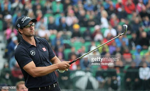 Adam Scott of Australia tees off on the 4th hole during the third round of The 143rd Open Championship at Royal Liverpool on July 19 2014 in Hoylake...