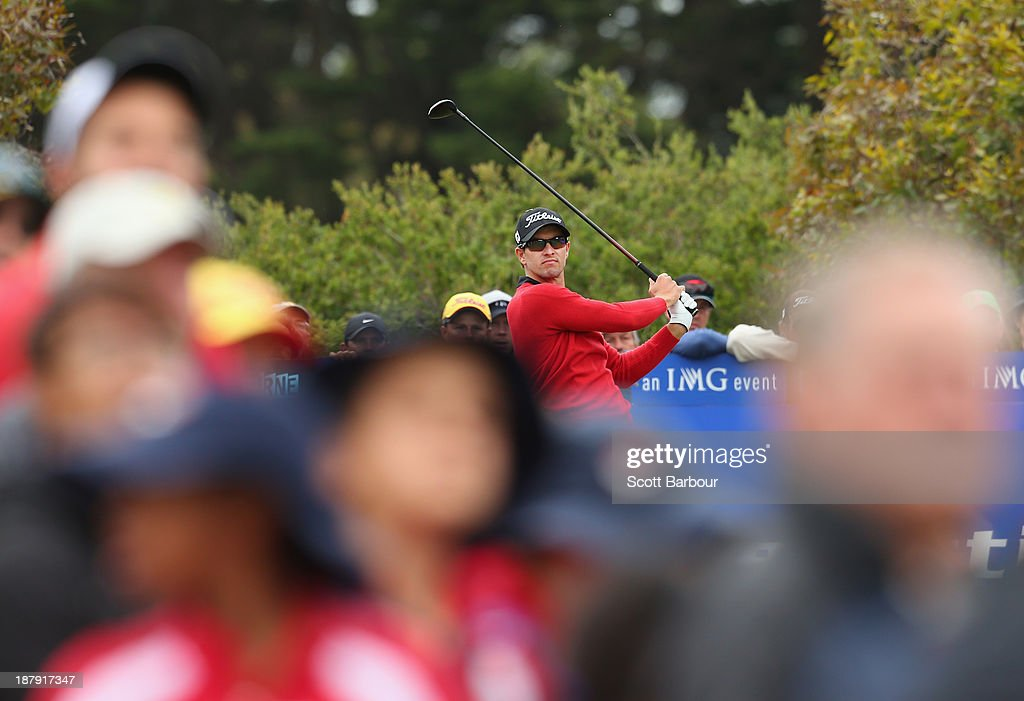 Adam Scott of Australia tees off on the 7th hole during round one of the 2013 Australian Masters at Royal Melbourne Golf Course on November 14, 2013 in Melbourne, Australia.