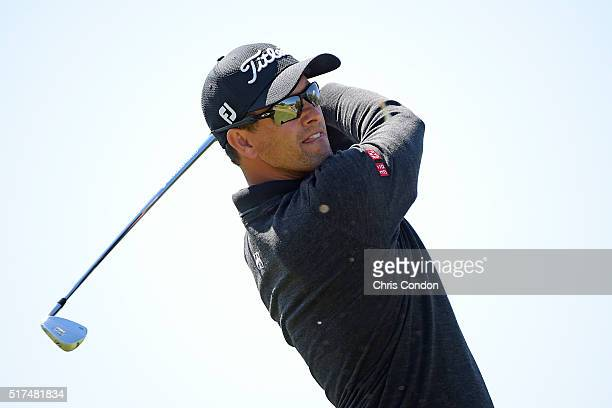 Adam Scott of Australia tees off on the 7th hole during the third round of the World Golf Championships Dell Match Play at Austin Country Club on...
