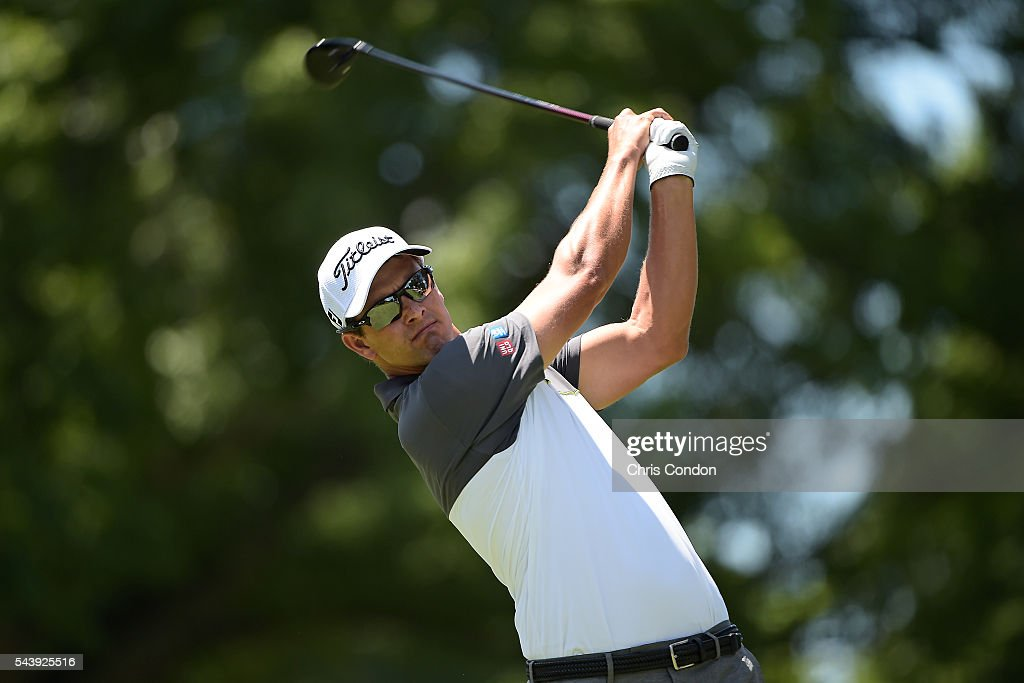 <a gi-track='captionPersonalityLinkClicked' href=/galleries/search?phrase=Adam+Scott+-+Golfer&family=editorial&specificpeople=202039 ng-click='$event.stopPropagation()'>Adam Scott</a> of Australia tees off on the third hole during the first round of the World Golf Championships-Bridgestone Invitational at Firestone Country Club on June 30, 2016 in Akron, Ohio.