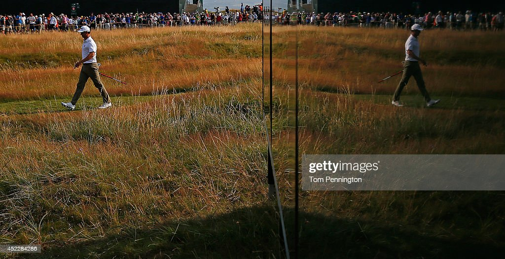 Adam Scott of Australia walks on the 15th hole during the first round of The 143rd Open Championship at Royal Liverpool on July 17, 2014 in Hoylake, England.