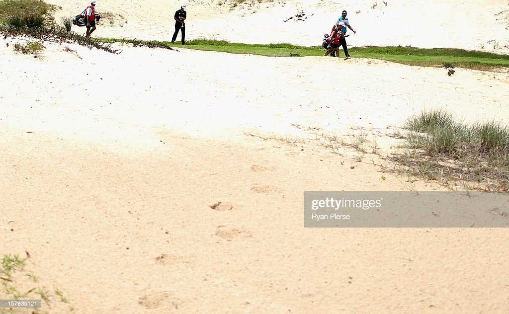 Adam Scott of Australia walks to the 4th Green during round three of the 2012 Australian Open at The Lakes Golf Club on December 8, 2012 in Sydney, Australia.