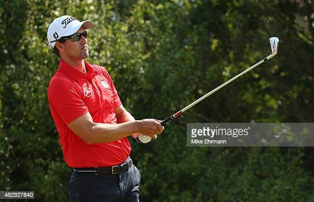 Adam Scott of Australia watches his tee shot on the eighth hole during the second round of The 143rd Open Championship at Royal Liverpool on July 18...
