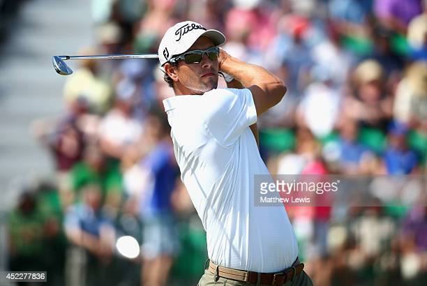 Adam Scott of Australia watches his tee shot on the fourth hole during the first round of The 143rd Open Championship at Royal Liverpool on July 17...