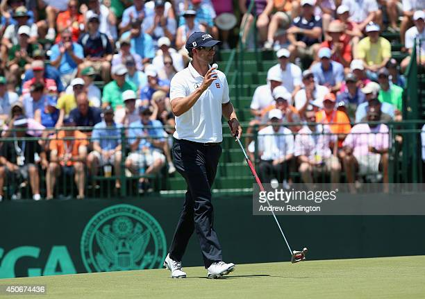Adam Scott of Australia waves on the third green during the final round of the 114th US Open at Pinehurst Resort Country Club Course No 2 on June 15...