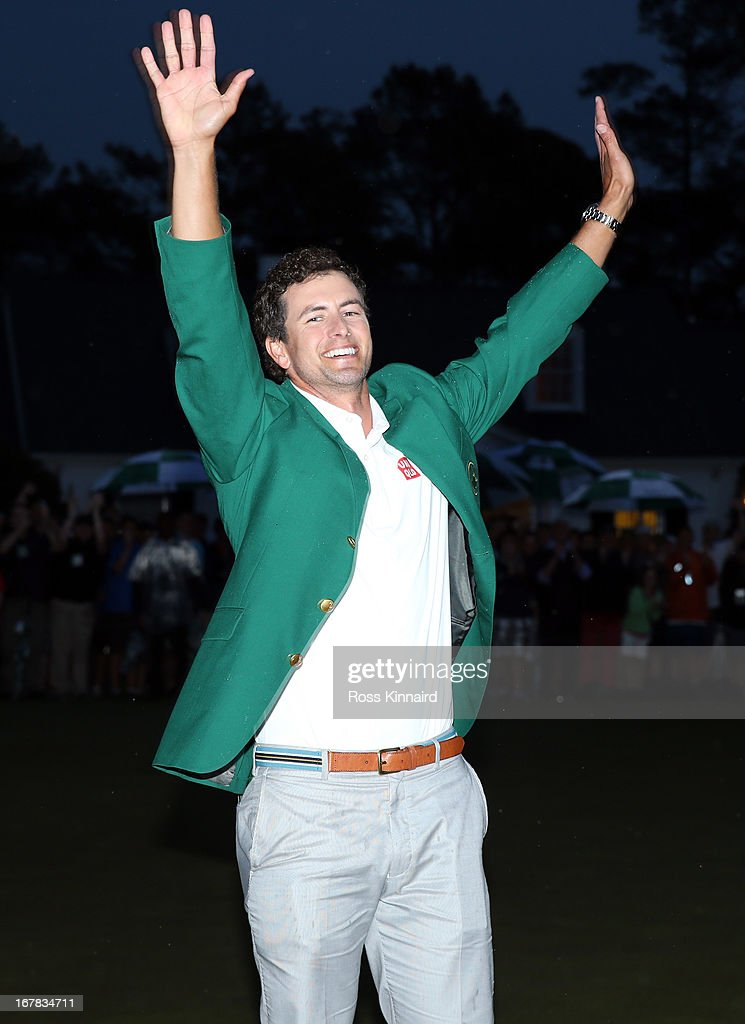 Adam Scott of Australia with the Green Jacket after winning the Masters during the final round of the 2013 Masters at the Augusta National Golf Club on April 14, 2013 in Augusta, Georgia.