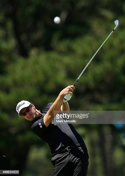 Adam Scott plays an approach shot on the 18th hole ahead of the 2015 Australian Open at The Australian Golf Club on November 25 2015 in Sydney...