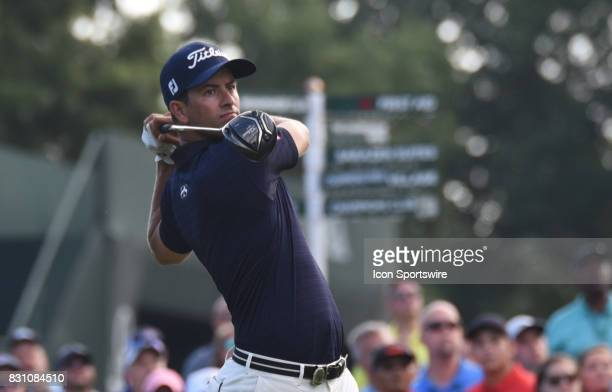 Adam Scott tees off on the first hole during the final round of the PGA Championship on August 13 2017 at Quail Hollow Golf Club in Charlotte NC