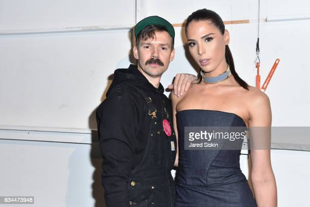 Adam Selman and Carmen Carrera pose backstage at the Adam Selman show during New York Fashion Week at Skylight Clarkson Sq on February 9 2017 in New...