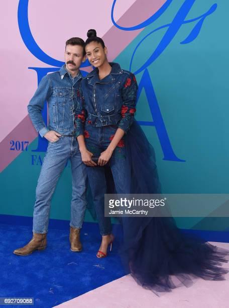 Adam Selman and Imaan Hammam attend the 2017 CFDA Fashion Awards at Hammerstein Ballroom on June 5 2017 in New York City