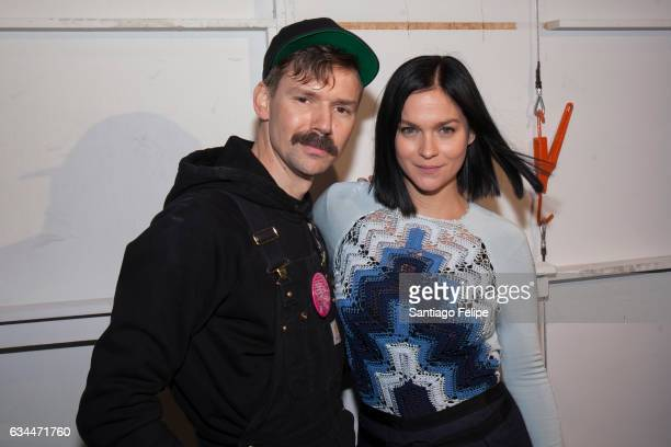 Adam Selman and Leigh Lezark pose backstage after the Adam Selman runway show at Gallery 2 Skylight Clarkson Sq on February 9 2017 in New York City
