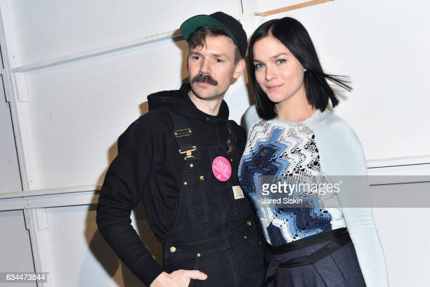 Adam Selman and Leigh Lezark pose backstage at the Adam Selman show during New York Fashion Week at Skylight Clarkson Sq on February 9 2017 in New...