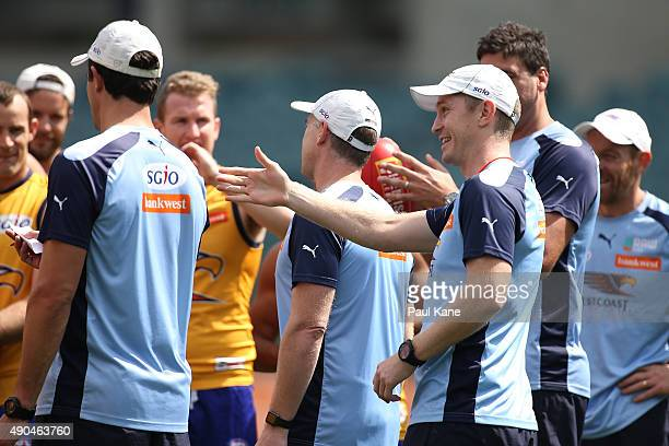 Adam Selwood assistant coach of the Eagles talks to his players during a West Coast Eagles AFL training session at Domain Stadium on September 29...