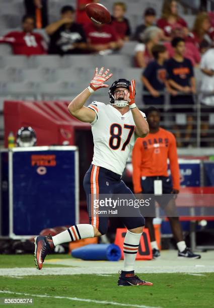 Adam Shaheen of the Chicago Bears catches a pass while preparing for a game against the Arizona Cardinals at University of Phoenix Stadium on August...